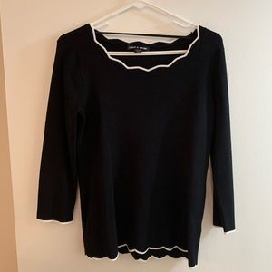 Black Sweater with White Scalloped Trim